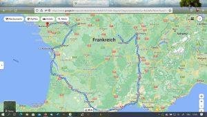 Route Herbst/Winter Frankreich